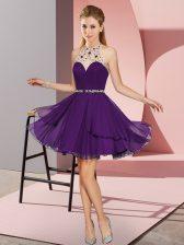 Sleeveless Zipper Mini Length Beading Prom Party Dress