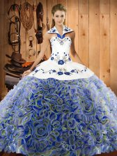 Romantic Sleeveless Sweep Train Lace Up Embroidery Vestidos de Quinceanera