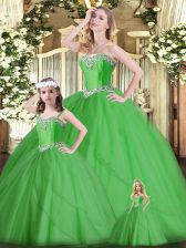 Dynamic Green Sleeveless Tulle Lace Up Sweet 16 Dresses for Military Ball and Sweet 16 and Quinceanera