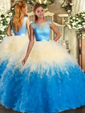Multi-color Backless Scoop Ruffles Quinceanera Gown Organza Sleeveless