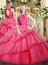 Ball Gowns Ball Gown Prom Dress Coral Red Scoop Organza Sleeveless Floor Length Zipper