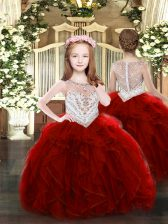 Top Selling Wine Red Organza Zipper Pageant Dress Sleeveless Floor Length Beading and Ruffles
