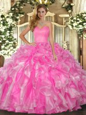 Custom Made Floor Length Rose Pink Quince Ball Gowns Sweetheart Sleeveless Lace Up