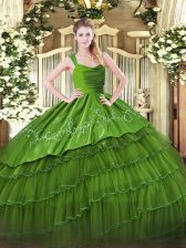 Smart Olive Green Zipper Straps Ruffled Layers Quinceanera Dresses Satin and Organza Sleeveless