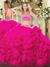Fitting Floor Length Two Pieces Sleeveless Hot Pink Quinceanera Dresses Backless