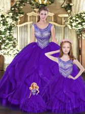 Comfortable Eggplant Purple Ball Gowns Beading and Ruffles 15th Birthday Dress Lace Up Tulle Sleeveless Floor Length