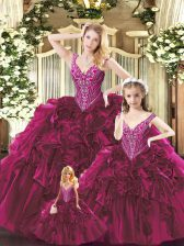 Red Sleeveless Beading and Ruffles Floor Length Quince Ball Gowns