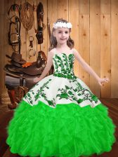 Green Pageant Dress for Girls Party and Sweet 16 and Quinceanera and Wedding Party with Embroidery and Ruffles Straps Sleeveless Lace Up