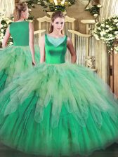 Multi-color Ball Gowns Scoop Sleeveless Organza Floor Length Backless Beading and Ruffles Quinceanera Gowns