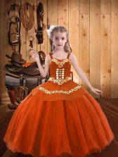 Popular Sleeveless Lace Up Floor Length Embroidery and Ruffles Pageant Gowns For Girls