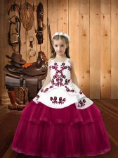 Fuchsia Ball Gowns Embroidery Pageant Dress Womens Lace Up Tulle Sleeveless Floor Length