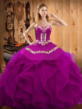 Nice Fuchsia Sleeveless Organza Lace Up Sweet 16 Dresses for Military Ball and Sweet 16 and Quinceanera