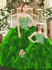 Green Organza Lace Up Quinceanera Gowns Sleeveless Floor Length Beading and Ruffles