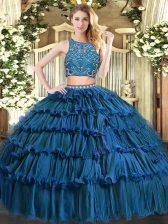 Artistic Beading and Ruffled Layers Vestidos de Quinceanera Teal Zipper Sleeveless Floor Length