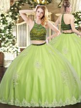 Yellow Green Sweet 16 Dress Military Ball and Sweet 16 and Quinceanera with Beading and Appliques Halter Top Sleeveless Zipper