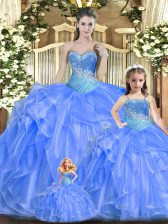 Unique Baby Blue Sweetheart Lace Up Beading and Ruffles Vestidos de Quinceanera Sleeveless