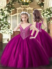 Sleeveless Floor Length Beading Lace Up Little Girl Pageant Gowns with Fuchsia