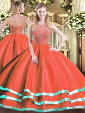 Custom Made Sleeveless Tulle Floor Length Zipper 15th Birthday Dress in Red with Beading