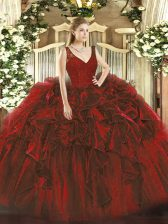 Simple Organza V-neck Sleeveless Backless Beading and Lace and Ruffles Quinceanera Dress in Wine Red