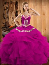 Floor Length Lace Up Quinceanera Dress Fuchsia for Military Ball and Sweet 16 and Quinceanera with Embroidery and Ruffles