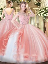Amazing Peach Ball Gowns Bateau Sleeveless Tulle Floor Length Zipper Beading and Ruffles Quinceanera Gowns
