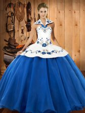 Suitable Sleeveless Embroidery Lace Up Quinceanera Dresses