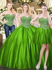 Sleeveless Beading Lace Up Sweet 16 Dress