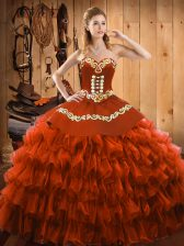 Best Selling Rust Red Ball Gowns Satin and Organza Sweetheart Sleeveless Embroidery and Ruffled Layers Floor Length Lace Up Quinceanera Gown