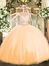 Two Pieces Quinceanera Dress Gold Scoop Tulle Sleeveless Floor Length Zipper