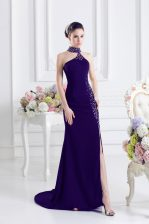 Beading Homecoming Dress Purple Lace Up Sleeveless Sweep Train