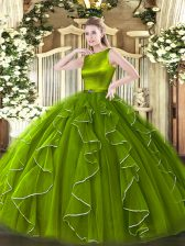 Deluxe Olive Green Organza Clasp Handle Quinceanera Dress Sleeveless Floor Length Ruffles