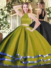 Cute Olive Green Backless Quinceanera Dresses Beading Sleeveless Floor Length