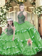 Shining Sleeveless Floor Length Beading and Ruffled Layers Lace Up Vestidos de Quinceanera with Green