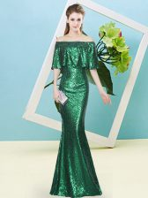 Dazzling Dark Green Off The Shoulder Neckline Sequins Prom Party Dress Half Sleeves Zipper