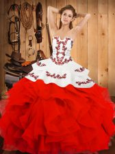 Sophisticated White And Red Satin and Organza Lace Up Strapless Sleeveless Floor Length Vestidos de Quinceanera Embroidery and Ruffles