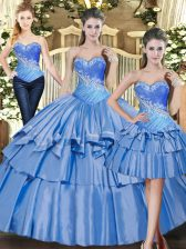 Enchanting Baby Blue Tulle Lace Up Sweetheart Sleeveless Floor Length 15 Quinceanera Dress Beading and Ruffled Layers