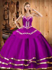 Romantic Sleeveless Embroidery Lace Up Vestidos de Quinceanera