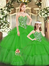 Green Lace Up Sweetheart Beading 15th Birthday Dress Tulle Sleeveless