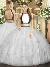 Colorful Sleeveless Tulle Floor Length Backless Quinceanera Dresses in Grey with Ruffles