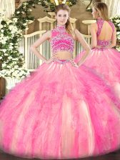 Great Two Pieces Sweet 16 Quinceanera Dress Watermelon Red and Rose Pink High-neck Tulle Sleeveless Floor Length Backless