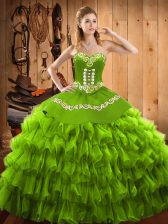 Hot Sale Sleeveless Embroidery and Ruffled Layers Lace Up Quinceanera Dress