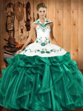 Modest Turquoise Lace Up Halter Top Embroidery and Ruffles Sweet 16 Quinceanera Dress Satin and Organza Sleeveless