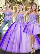 Vintage Beading Sweet 16 Dress Lavender Lace Up Sleeveless Floor Length