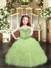 Yellow Green Ball Gowns Organza Spaghetti Straps Sleeveless Beading and Ruffles and Pick Ups Floor Length Lace Up Little Girls Pageant Dress