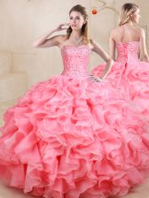 Artistic Watermelon Red Sweetheart Lace Up Beading and Ruffles Ball Gown Prom Dress Sleeveless