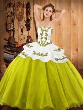 Custom Designed Floor Length Yellow Green Sweet 16 Dresses Strapless Sleeveless Lace Up