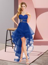 Royal Blue Sweetheart Neckline Beading Quinceanera Court Dresses Sleeveless Lace Up