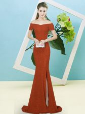 High End Off The Shoulder Short Sleeves Sweep Train Zipper Evening Dress Rust Red Sequined
