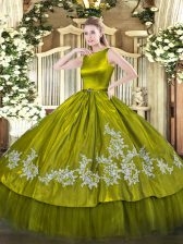 Stunning Ball Gowns Quinceanera Dress Olive Green Scoop Satin and Tulle Sleeveless Floor Length Clasp Handle