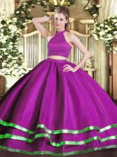 Fancy Fuchsia Tulle Backless Halter Top Sleeveless Floor Length Quinceanera Gown Beading